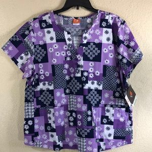 Barco Nurse Scrub Top Blouse White Purple XL